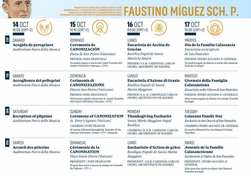Programme des célébrations pour la Canonisation du Bienheureux Faustino Miguez Sch. P.